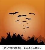 halloween background bats... | Shutterstock .eps vector #1116463580