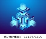 cryptocurrency and blockchain ... | Shutterstock .eps vector #1116471800
