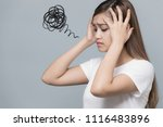 depressed young woman. | Shutterstock . vector #1116483896