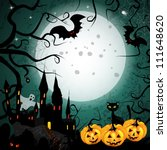 halloween card with pumpkin and ... | Shutterstock . vector #111648620