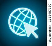 globe and arrow icon. neon...   Shutterstock .eps vector #1116487130