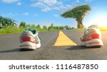 yellow traffic line and shoe... | Shutterstock . vector #1116487850
