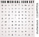 vector medical icon set of 100... | Shutterstock .eps vector #1116495926
