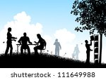 illustrated silhouettes of... | Shutterstock . vector #111649988