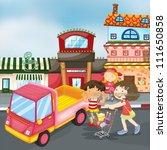 illustration of truck and kids... | Shutterstock .eps vector #111650858