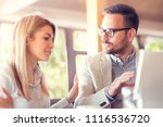 young business coworker talking ... | Shutterstock . vector #1116536720
