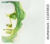 Watercolor Portrait Of Young...
