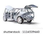3d car frame body on white... | Shutterstock . vector #1116539660