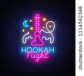 hookah neon sign vector. night...   Shutterstock .eps vector #1116542348