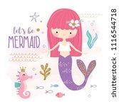cute little mermaid and marine... | Shutterstock .eps vector #1116544718