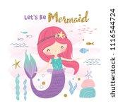 cute little mermaid and marine... | Shutterstock .eps vector #1116544724