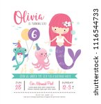 kids birthday party invitation... | Shutterstock .eps vector #1116544733