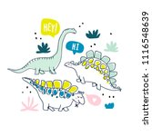 cute dinosaurs and tropic... | Shutterstock .eps vector #1116548639