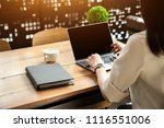 close up the hand of an asian... | Shutterstock . vector #1116551006