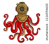octopus and old diver helmet... | Shutterstock .eps vector #1116554633
