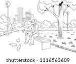 park graphic black white bench... | Shutterstock .eps vector #1116563609