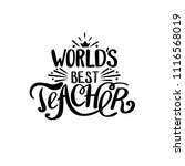 world best teacher. hand... | Shutterstock .eps vector #1116568019