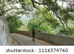 woman walk into forrest ... | Shutterstock . vector #1116574760