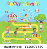 playground with attractions... | Shutterstock .eps vector #1116579530