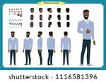 standing young black american... | Shutterstock .eps vector #1116581396