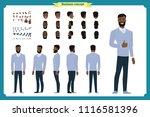 standing young black american... | Shutterstock .eps vector #1116581396
