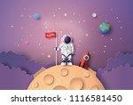 astronaut with flag on the moon ... | Shutterstock .eps vector #1116581450