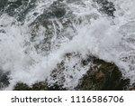 wave crashing at rock reef  sea ... | Shutterstock . vector #1116586706