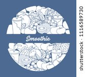 smoothie and ingredients for... | Shutterstock .eps vector #1116589730