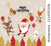 merry christmas greeting card... | Shutterstock .eps vector #1116592106