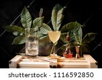cocktail glass with yellow... | Shutterstock . vector #1116592850