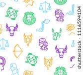 zodiacal thin line seamless... | Shutterstock .eps vector #1116594104