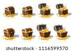 set old pirate chests full of... | Shutterstock .eps vector #1116599570