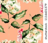 seamless pattern with hydrangea ... | Shutterstock . vector #1116601379