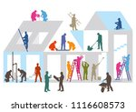 construction site with builders | Shutterstock .eps vector #1116608573