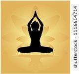 yoga day meditation... | Shutterstock .eps vector #1116614714