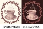 a cup of hot coffee. design set.... | Shutterstock .eps vector #1116627956