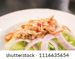 close up of tuna spicy salad in ... | Shutterstock . vector #1116635654