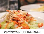 close up of tuna spicy salad in ... | Shutterstock . vector #1116635660