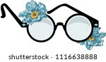 round glasses with flowers  | Shutterstock .eps vector #1116638888