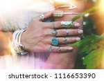closeup of young woman hand and ... | Shutterstock . vector #1116653390