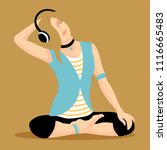 young stylish girl music lover ... | Shutterstock .eps vector #1116665483