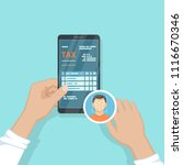 human pay taxes using face... | Shutterstock .eps vector #1116670346