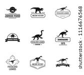 dino logo set. simple set of 9... | Shutterstock .eps vector #1116676568
