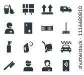black vector icon set taxi... | Shutterstock .eps vector #1116680810