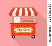 pop corn street shop icon. flat ... | Shutterstock .eps vector #1116681650