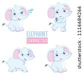 Stock vector vector illustration of cartoon elephants 1116684266