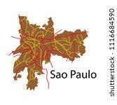sao paulo  brazil  flat map... | Shutterstock .eps vector #1116684590