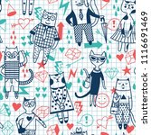different cartoon cats.... | Shutterstock .eps vector #1116691469