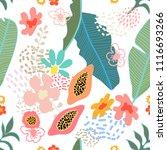 exotic garden blossom. seamless ... | Shutterstock .eps vector #1116693266