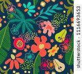 exotic garden blossom. seamless ... | Shutterstock .eps vector #1116693653